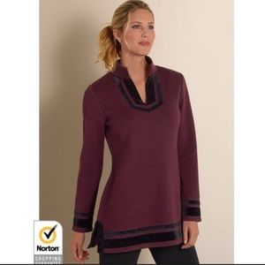 Soft Surroundings Maroon Velvet Trim Pullover